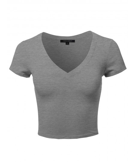 Women's Solid Short Sleeve V-Neck Ribbed Crop Top