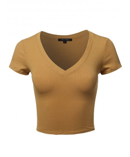 Women's Solid Short Sleeve V-Neck Ribbed Crop Top