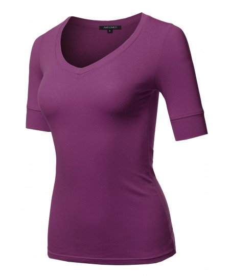 Women's Solid Elbow Sleeves V-Neck Casual Basic Cotton Based Top