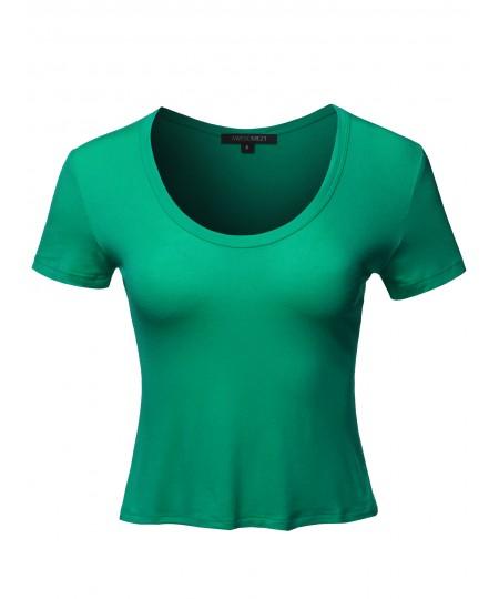 Women's Solid Deep V-Neckline Cap Sleeves Rayon Spandex Crop Top