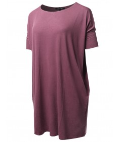 Women's Solid Loose Fit Dolman Tunic Top With Side Pockets
