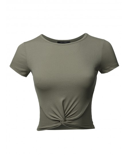 Women's Solid Knot Front Ribbed Short Sleeve Crop Top