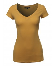 Women's Solid V-neck Short Sleeves Everyday Top