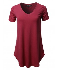 Women's Solid Relaxed Fit V-Neck Short Sleeve Basic Tee