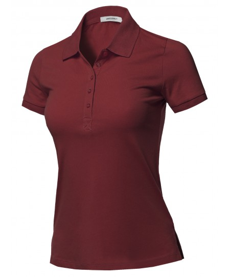 Women's Solid Basic Short Sleeve Gold School Uniform Polo Top