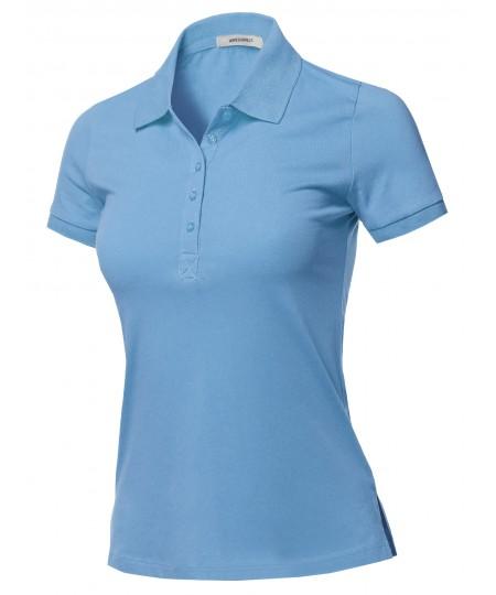 Women's Solid Basic Short Sleeve Gold School Uniform Polo Top