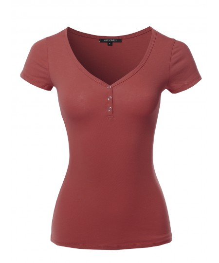 Women's Solid Short Sleeve Snap Button Henley V-Neck Top