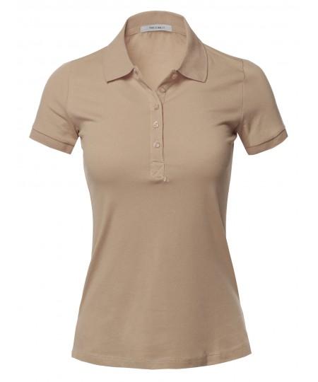 Women's Basic Short Sleeve School Uniform Polo Top