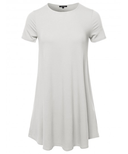 Women's Solid Short Sleeve Round Hem Flared Top With Pockets