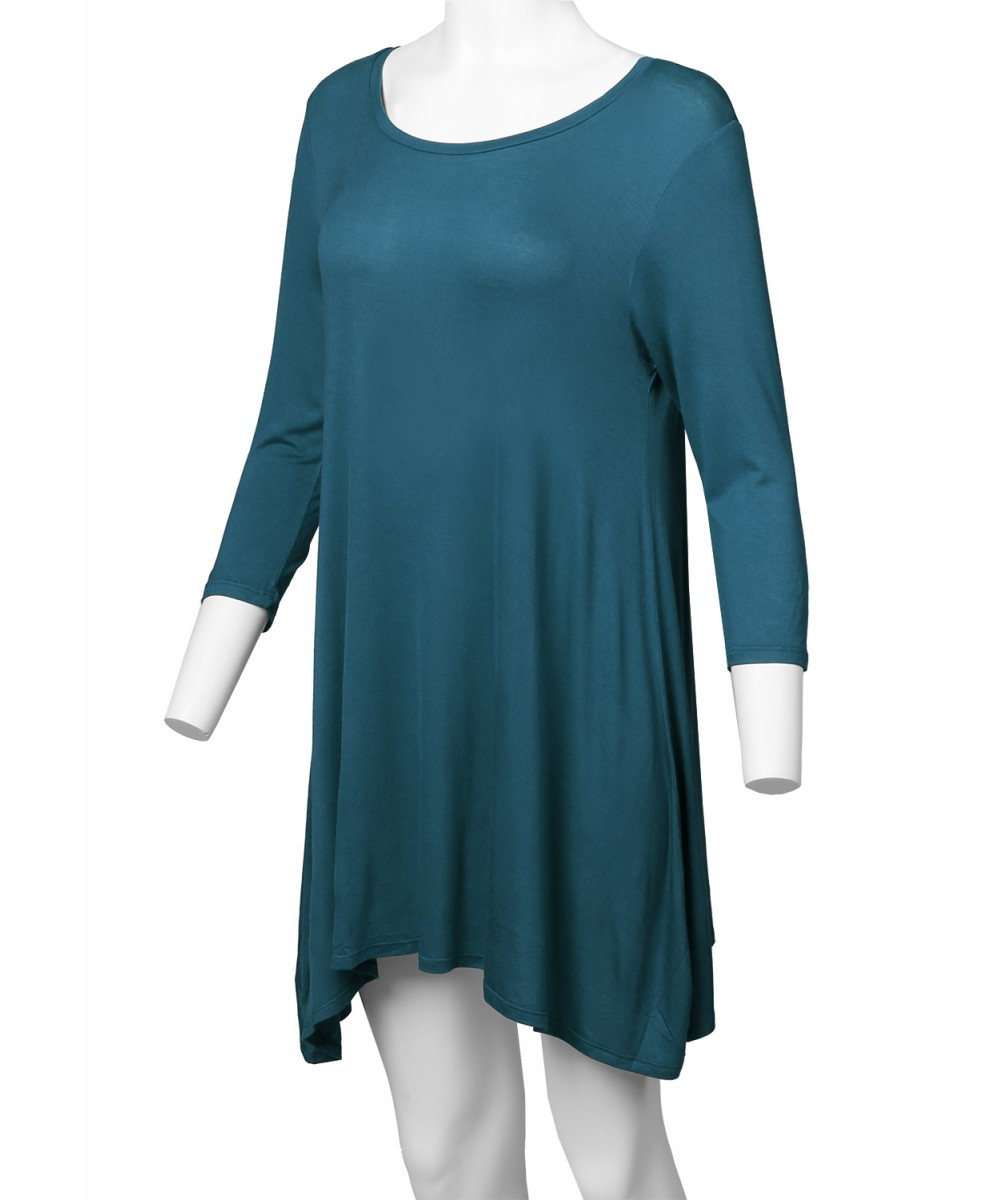 FashionOutfit Women/'s Solid Basic Soft Stretch Asymmetrical 3//4 Sleeve Tunic Top