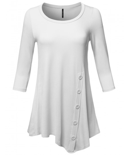 Women's Casual Solid Soft Stretch Asymmetrical 3/4 Sleeve Button Tunic Top
