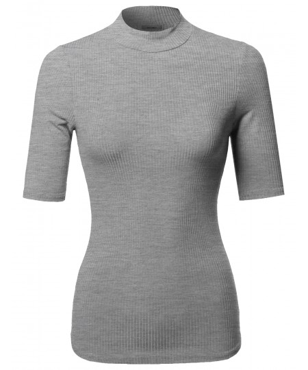 Women's Casual Basic Turtle Neck Elbow Sleeve Ribbed Top