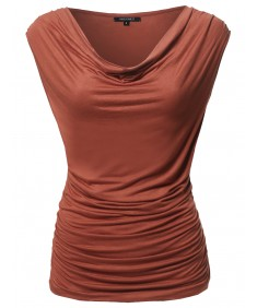 Women's Solid Sleeveless Scoop Neck Shirred Top