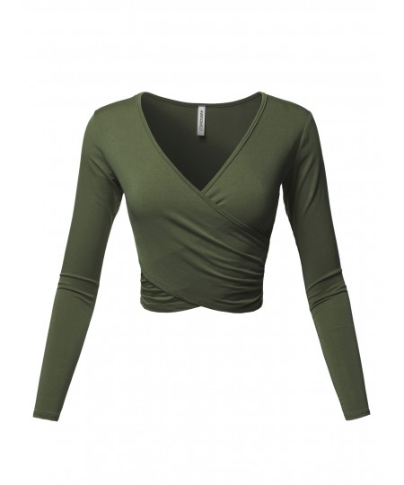 Women's Solid V-Neck Crossover Shirred Wrap Front Long Sleeves Crop Top