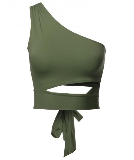 Women's Solid One Shoulder Sexy Crop Top