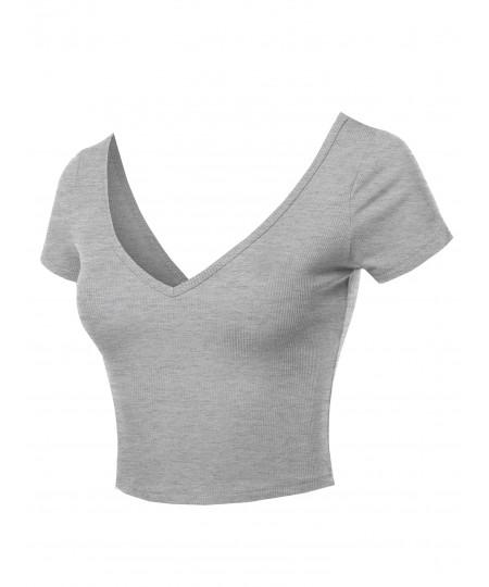 Women's Solid Basic Short Sleeve V Neck Crop Top