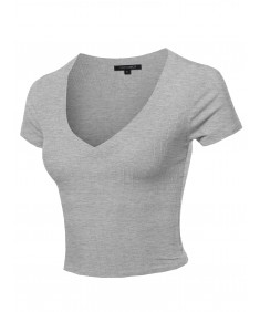 Women's Solid V Neck Short Sleeve Fitted Crop Top