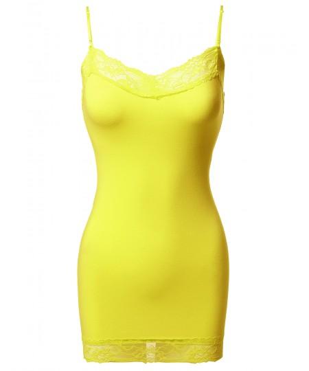 Women's Solid Soft Stretch Spaghetti Strap Lace Trim Tank Top