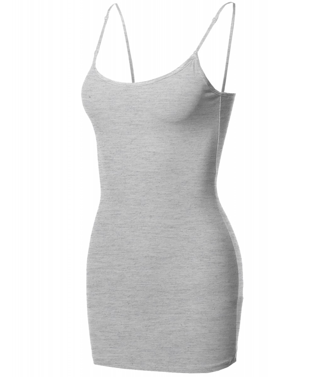 1aedae49db5 Women's Basic Solid Long Length Camisole Tank Top with Adjustable ...