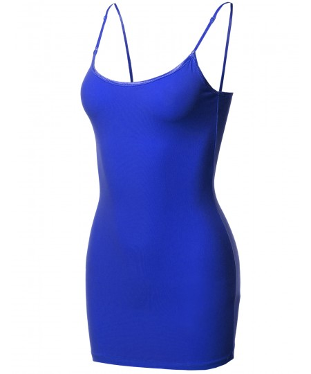 Women's Basic Solid Long Length Camisole Tank Top with Adjustable Straps
