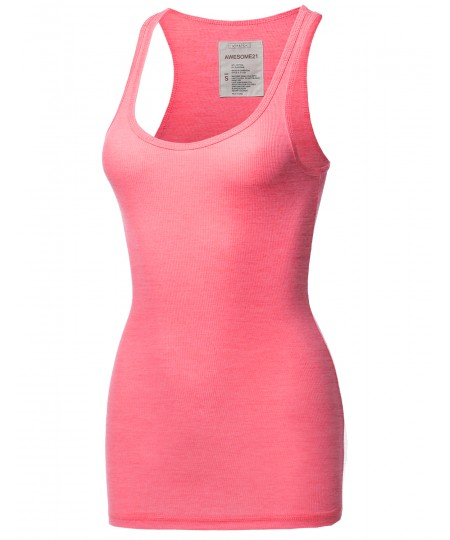 Women's Solid Basic Scoop Neck Racer-Back Ribbed Tank Top