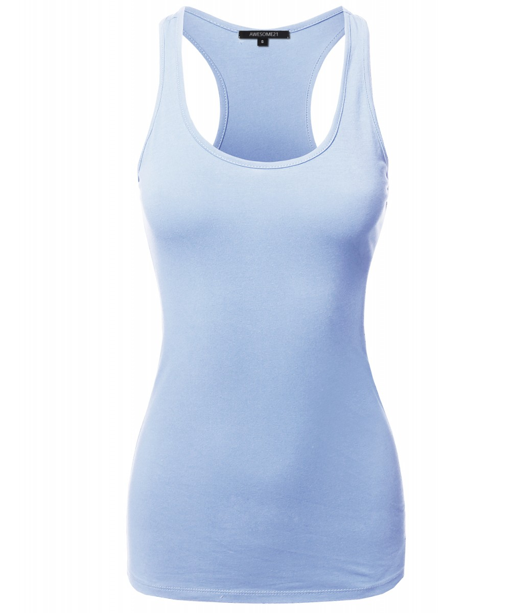 6528de7e41d008 Womens solid basic sleeveless racer back cotton based tank top jpg  1000x1200 Sleeveless pastel tanktop