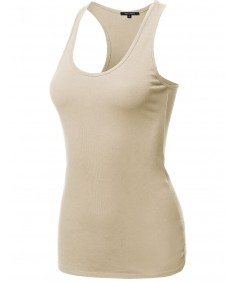 Women's Solid Basic Sleeveless Racer-Back Cotton Based Tank Top