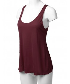 Women's Solid Basic Rayon Sleeveless Thin Layer Tank Top