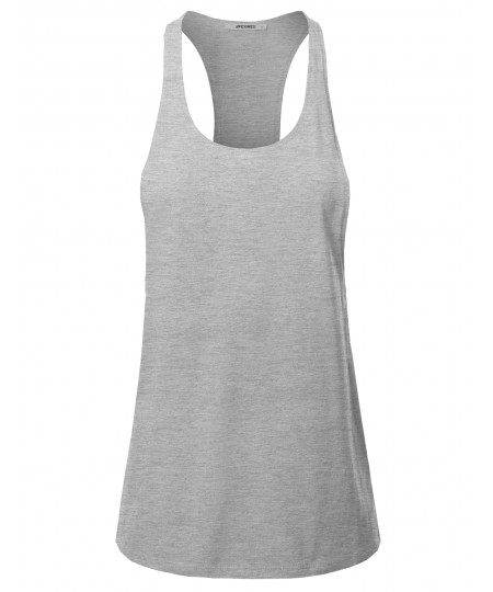 Women's Solid Heather Deep Racer-Back Dropped Armhole Yoga Fitness Tank Top