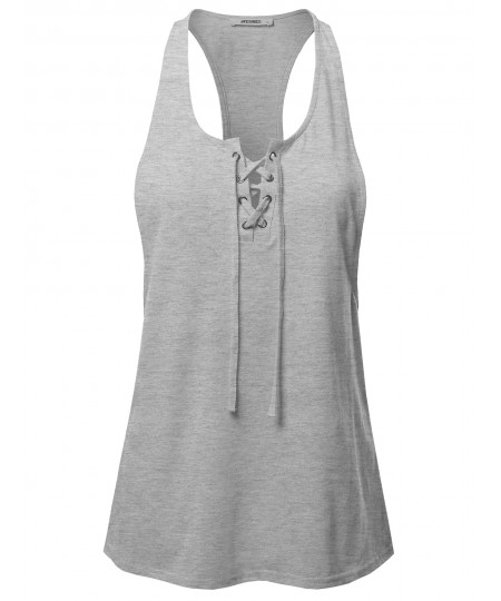 Women's Solid Heather Deep Racer-Back Lace Up Front Yoga Fitness Tank Top