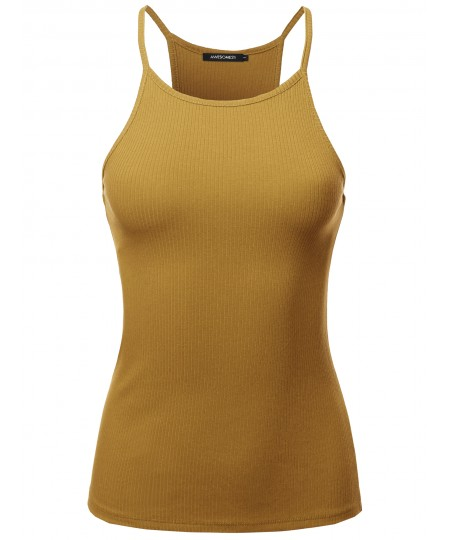 Women's Solid High Neck Racer-Back Ribbed Spaghetti Strap Tank Top