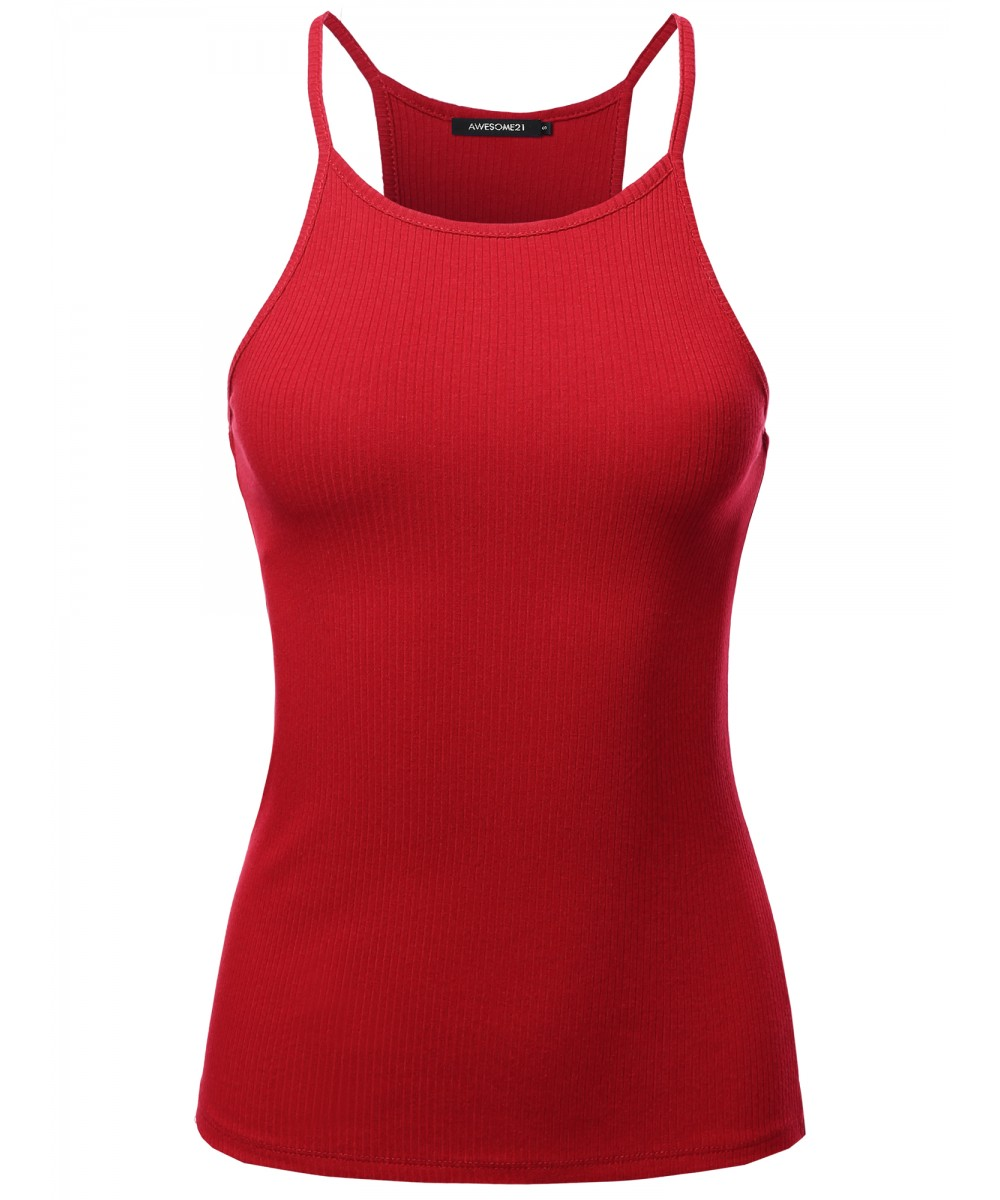 542b5835a4 Women's Solid High Neck Racer-Back Ribbed Spaghetti Strap Tank Top ...