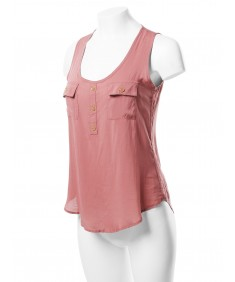 Women's Casual Solid Scoop Neck Woven Tunic Pocket Detail Tank Top