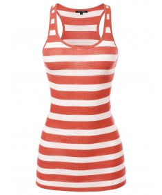 Women's Basic Stripe Ribbed Racer-back Tank Top