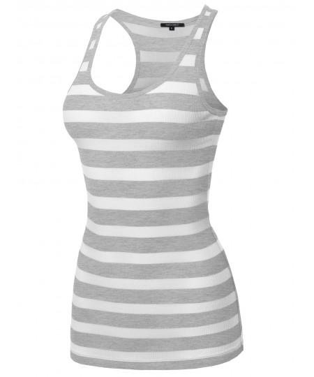 Women's Basic Stripe Ribbed Racer-back Tank Top