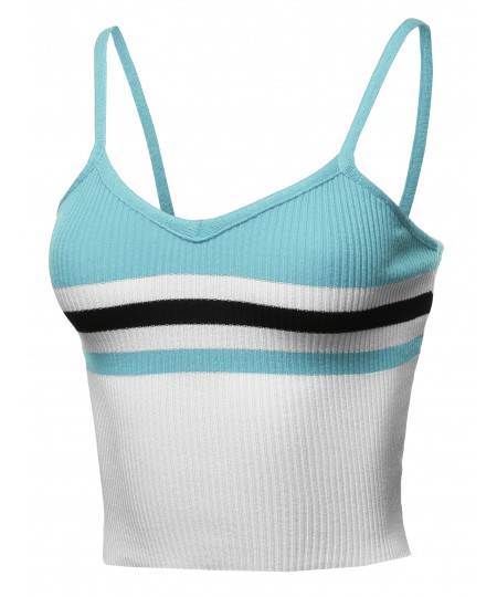 Women's Fitted Color Block Ribbed Crop Tank Top - Made In USA