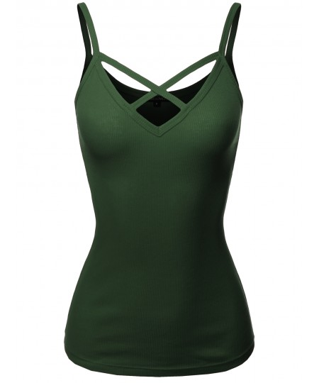 Women's Solid Ribbed Crisscross Front Spaghetti Strap Cotton Tank Top
