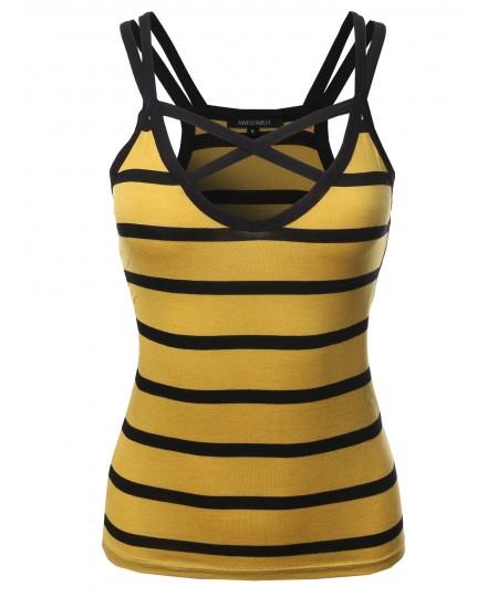 Women's Casual Striped Crisscross Spaghetti Strap Tank Top