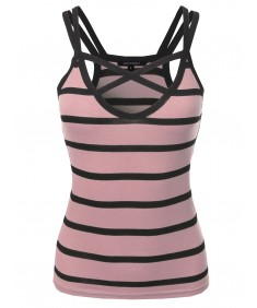 Women's Casual Striped Crisscross Spaghetti Strap Tank Top