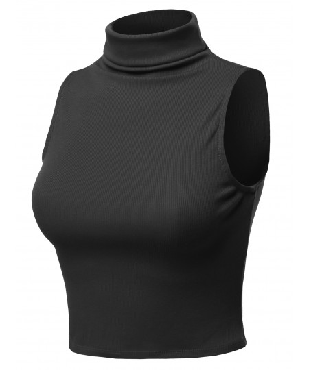 Women's Solid Sleeveless Ribbed Turtle Neck Top