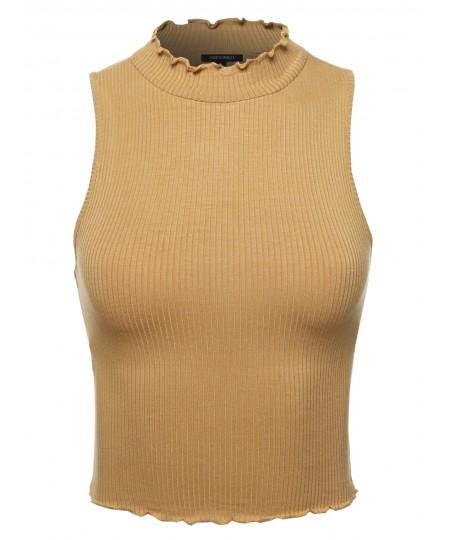 Women's Solid Merrow Edge Sleeveless Mock Neck Crop Top