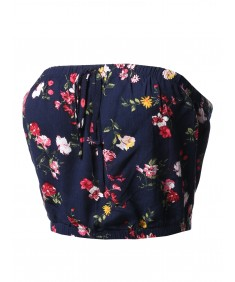 Women's Casual Printed  Drawstring Detail Tube Top
