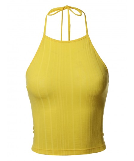 Women's Solid Self Tie Halter Neck Crop Tank Top