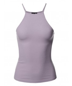 Women's Solid High Neck Racer-back Ribbed Tank Top