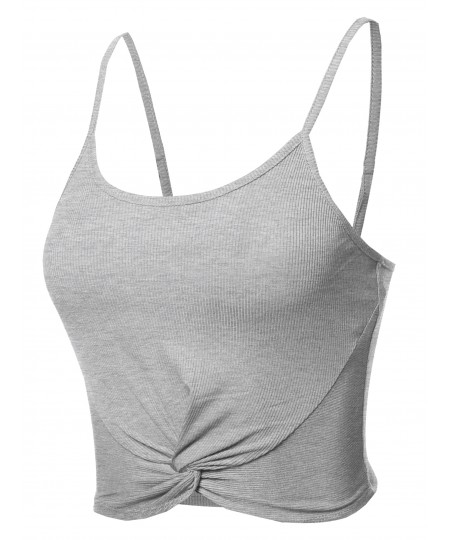 Women's Solid Ribbed Front Knot Cami Crop Tank Top
