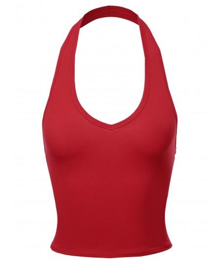 Women's Solid Halter Neck Basic Crop Tank Top