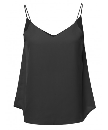 Women's Solid Double V-Neck Cami Woven Tank Top