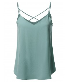Women's Solid V-Neck Back Cross Strap Woven Cami Tank Top