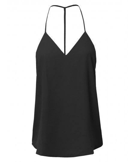 Women's Solid V-Neck Back T-Strap Cami Woven Tank Top