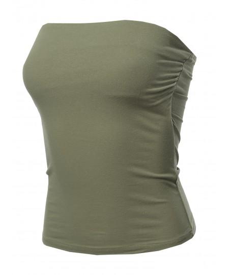 Women's Solid Bra Shelf Waist Length Tube Top